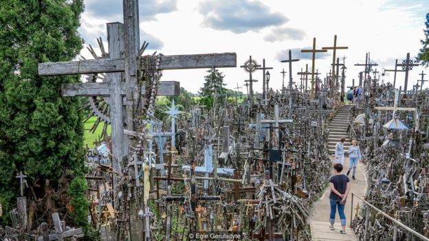 The mysterious hill covered in crosses
