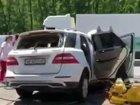 Внедорожник влетел в автобус под Киевом: один человек погиб. ФОТО