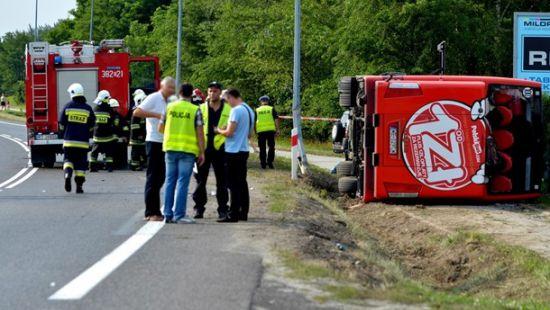 В Польше перевернулся междугородный автобус