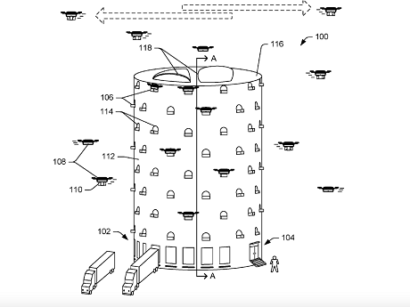 Amazon представил концепцию парковочной башни для беспилотников