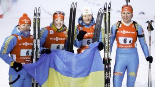 Биатлон: украинки завоевали серебро в эстафете