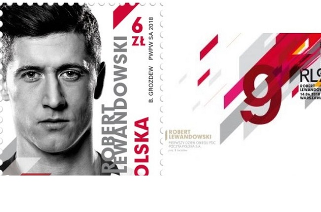 Polish football star Robert Lewandowski honoured on postage stamp