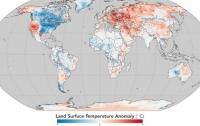 NASA опубликовало карту мира с температурными аномалиями