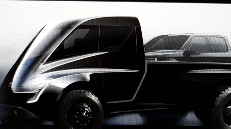 Tesla показала эскиз гигантского электропикапа на базе грузовика Semi