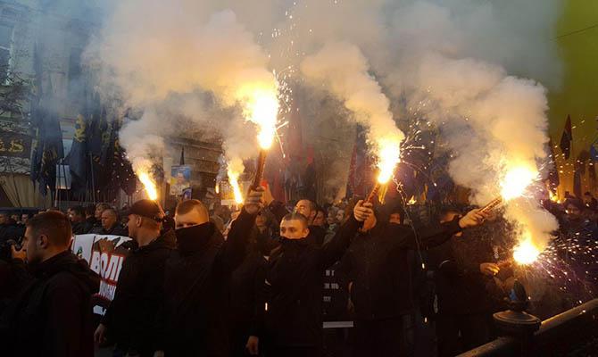 Марш националистов в Киеве: файеры и «Москаляку на гілляку»