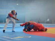 Владислав Руднев (в красном) выступал в весовой категории до 74 кг