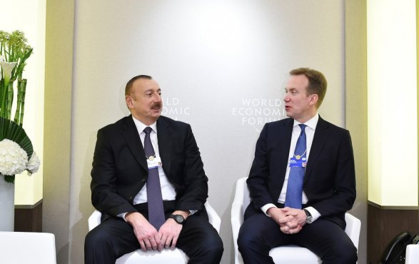 Президент Ильхам Алиев начал встречи в Давосе Обновлено 00:14; Фото