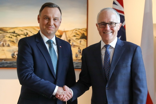 Polish president talks security, defence, energy in Canberra