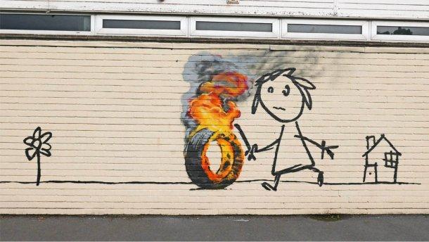 Робітники випадково замалювали графіті відомого художника Бенксі