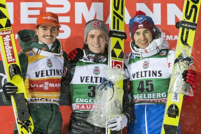 Ski-jumping World Cup podium for Poland's Stoch